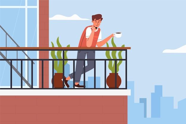 Mann, der seinen kaffee auf balkonaufenthalt trinkt Kostenlosen Vektoren
