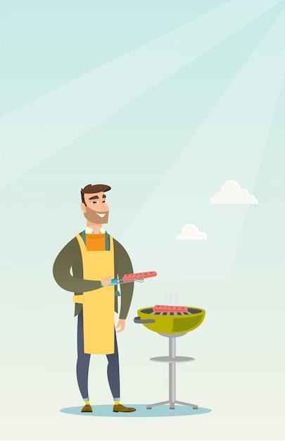 Mann, der steak auf grillgrill kocht. Premium Vektoren