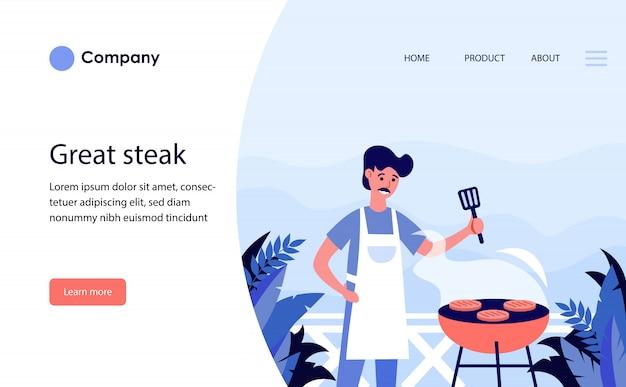 Mann, der steak draußen grillt. website-vorlage oder zielseite Kostenlosen Vektoren