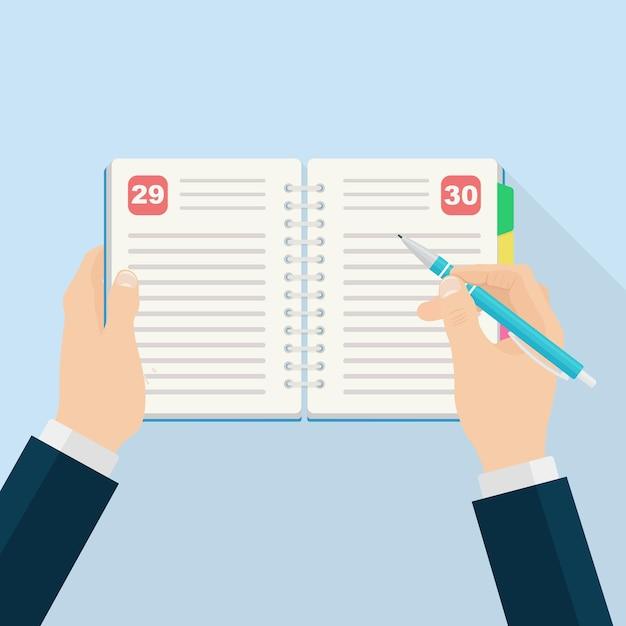 Mann, der tagebuch, planer oder notizbuch füllt. büro- und geschäftsbedarf für listen, erinnerungen, zeitpläne oder tagesordnungen Premium Vektoren