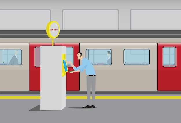 Mann, der u-bahn-tickets am selbstbedienungsautomaten kauft. Premium Vektoren