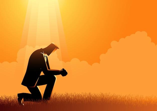 Mann, der unter dem licht betet Premium Vektoren