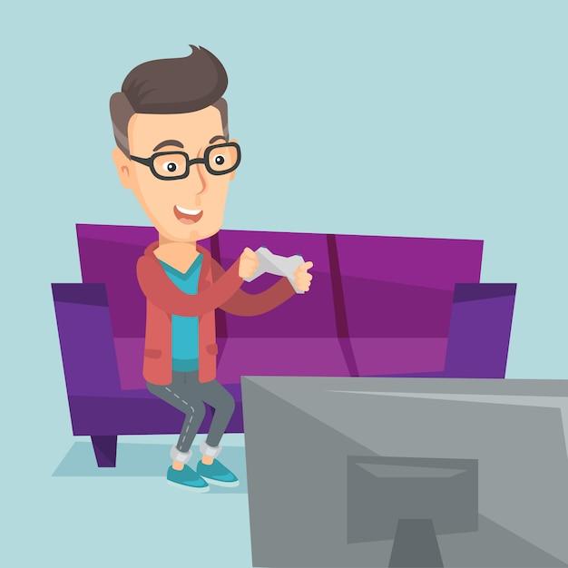Mann, der videospielvektorillustration spielt. Premium Vektoren