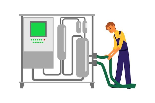 Mann, der weinherstellungsausrüstung verwendet - stahlbrennertank mit kontrolltafel und schlauch auf weißem hintergrund. weingutarbeiter, der mit brennerei arbeitet - illustration. Premium Vektoren
