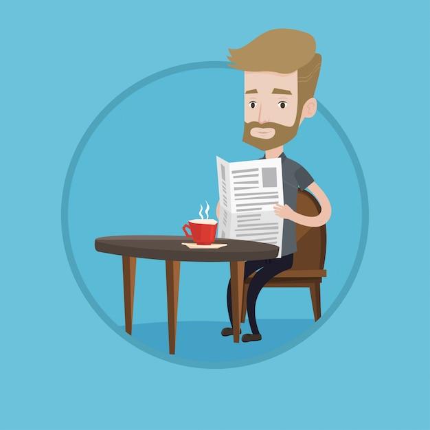 Mann, der zeitung liest und kaffee trinkt. Premium Vektoren