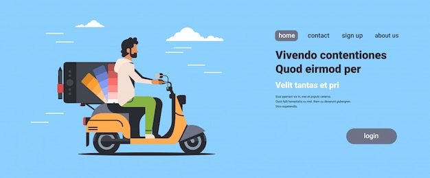Mann designer reiten roller mit professionellen grafiktablett zeichnung computer Premium Vektoren