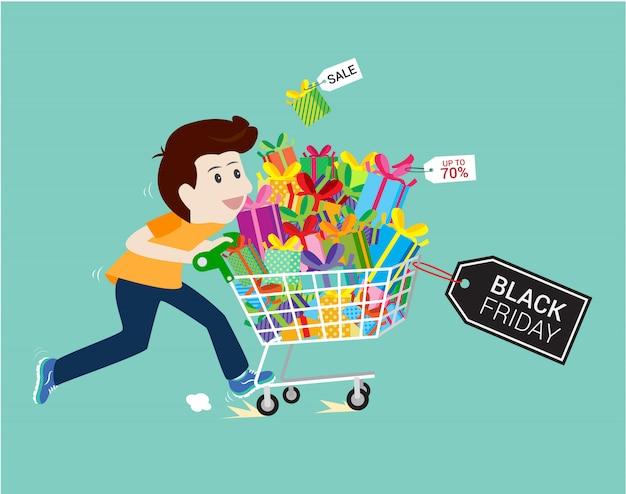 Mann-einkaufsgeschenk ende des saisonverkaufsschwarzen freitag. Premium Vektoren
