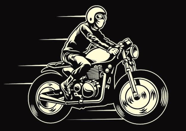 Mann fahren ein klassisches kundenspezifisches motorrad Premium Vektoren