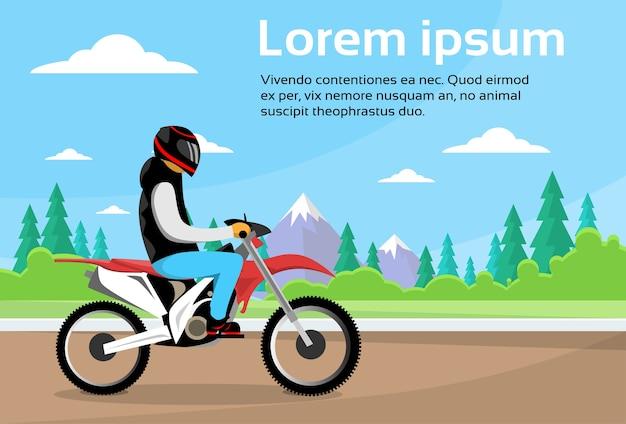 Mann-fahrt weg vom straßen-bewegungsfahrrad, sport motocycle Premium Vektoren