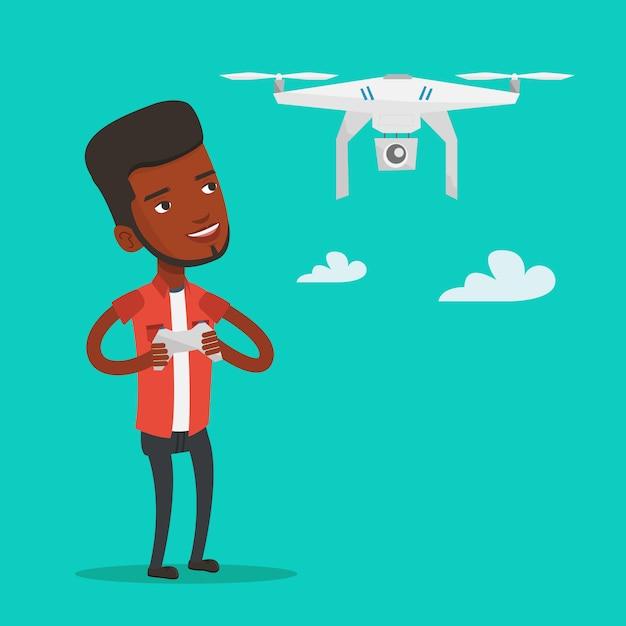 Mann fliegende drohnenvektorillustration. Premium Vektoren