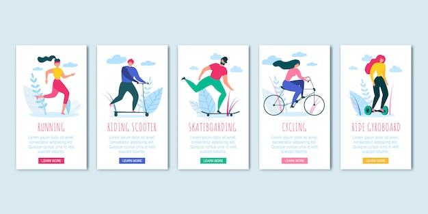 Mann frau radfahren skateboading run ride scooter Premium Vektoren