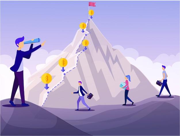 Mann-führer spyglass mountain peak financial goal Premium Vektoren