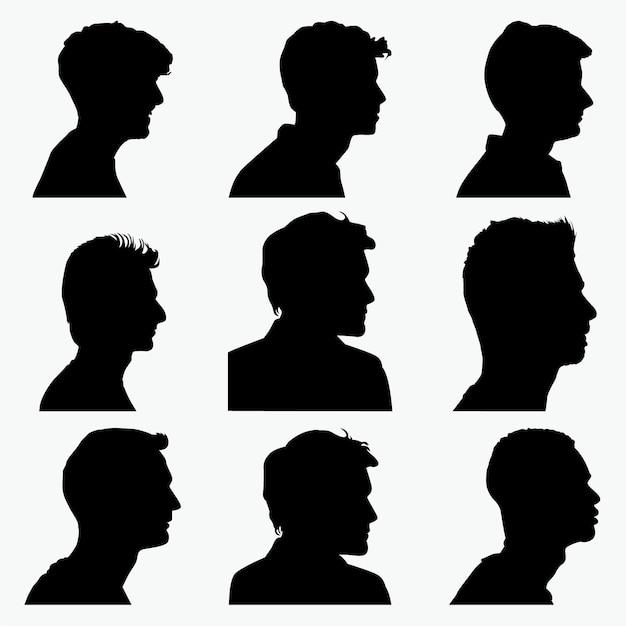 Mann gesicht silhouetten Premium Vektoren