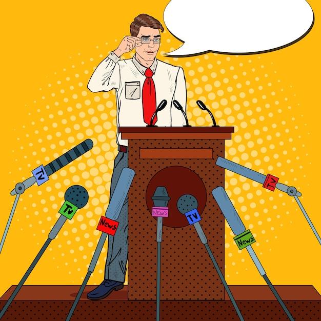 Mann hält eine pressekonferenz ab Premium Vektoren
