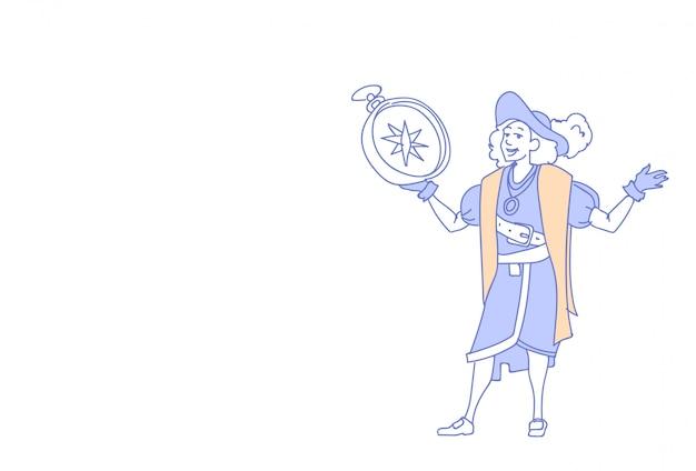 Mann hält kompass glücklich columbus tag Premium Vektoren