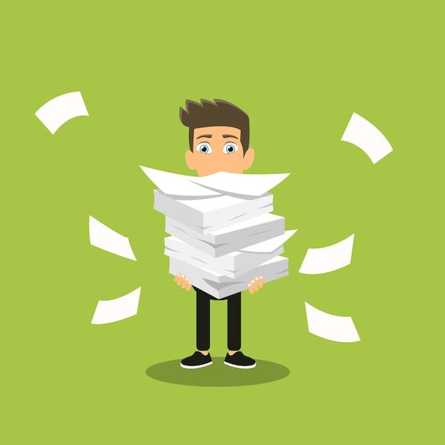 Mann hält stapel von büropapieren Premium Vektoren