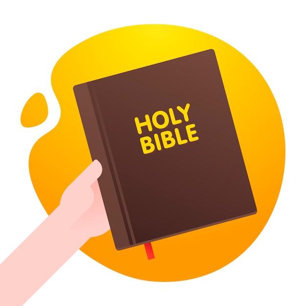 Mann halten heilige bibel in seiner hand, lebensgrundlagenbibel in der orange abstrakten form hintergrund. . Premium Vektoren