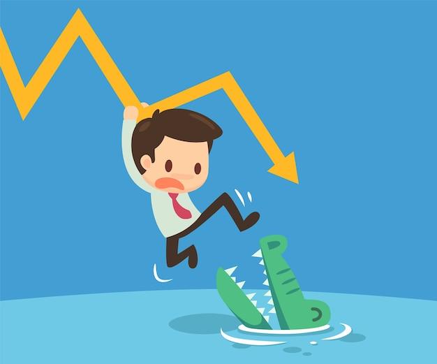 Mann hing auf dem diagramm, um dem krokodil zu entkommen. Premium Vektoren