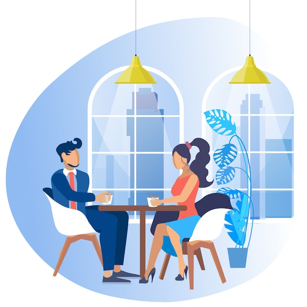 Mann im anzug und frau mit sitzt am tisch. Premium Vektoren