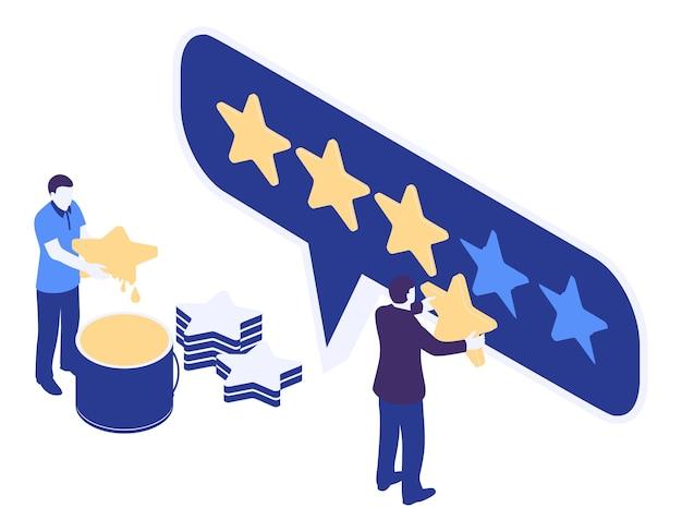 Mann im geschäftsanzug mit goldenem stern in der hand, bewertung Kostenlosen Vektoren