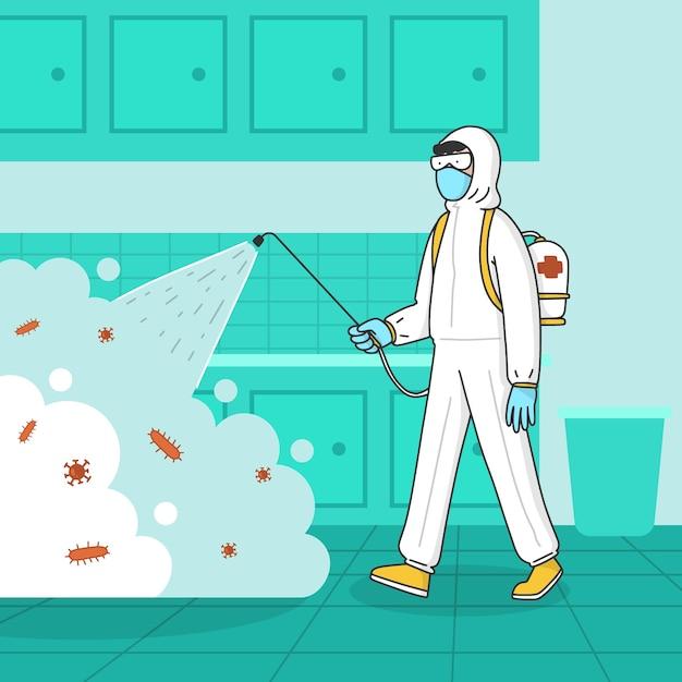 Mann im hazmat-anzug, der die küche von bakterien reinigt Kostenlosen Vektoren