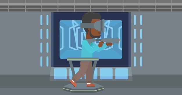 Mann im kopfhörer der virtuellen realität, der videospiel spielt. Premium Vektoren