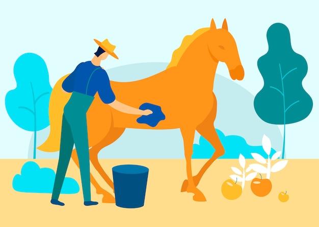 Mann im overall wäscht pferd im garten. vektor. Premium Vektoren