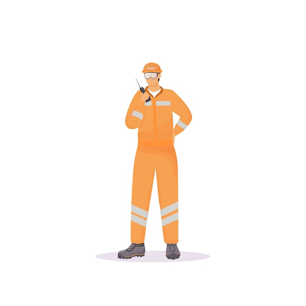 Mann im reflektierenden anzug flache farbe gesichtslosen charakter Premium Vektoren