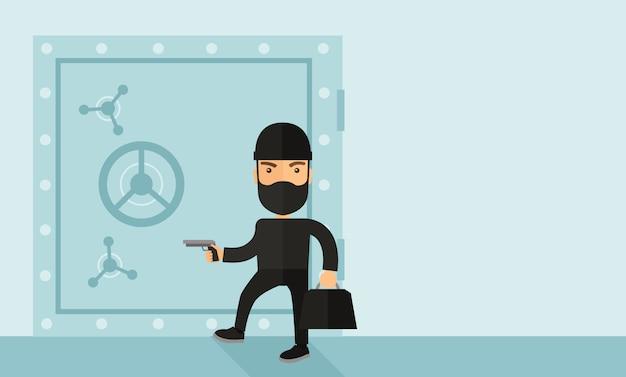Mann im schwarzen hacking banksafe. Premium Vektoren