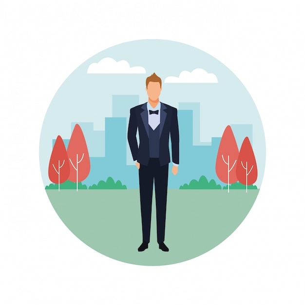 Mann im smoking runde symbol Premium Vektoren