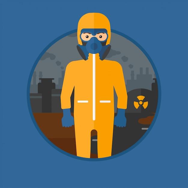 Mann im strahlenschutzanzug. Premium Vektoren