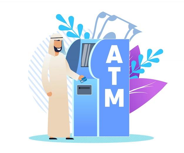 Mann in arabischer kleidung an einem geldautomaten, cartoon flat. Premium Vektoren