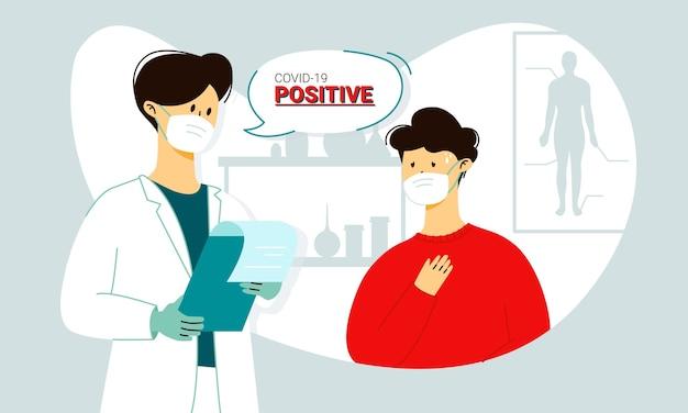 Mann in maske mit covid-19-symptomen - husten und hohe temperaturen - das hören seines coronavirus-tests ist positiv von den ärzten in maske und handschuhen im krankenhaus. zweite welle der weltpandemie. Premium Vektoren