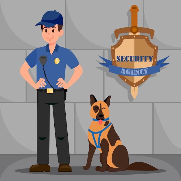 Mann in polizeiuniform mit braunem deutschem schäferhund Premium Vektoren