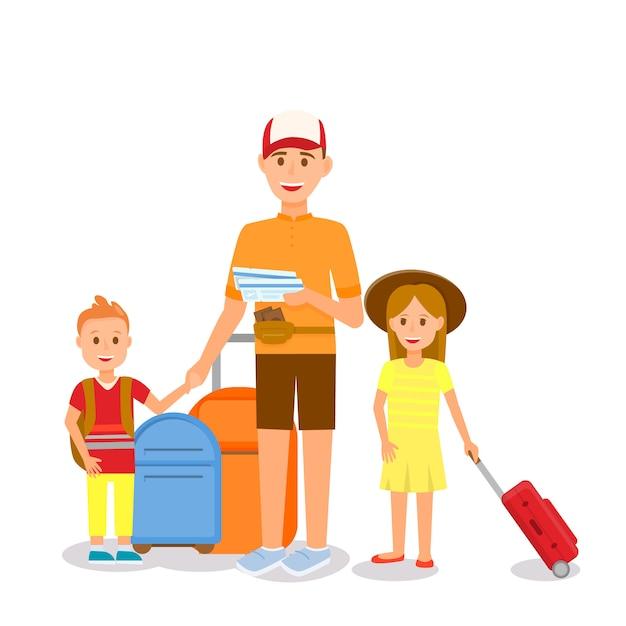 Mann in sommerkleidung mit kindern und koffern Premium Vektoren