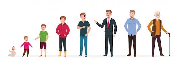 Mann in verschiedenen altersgruppen. neugeborener jungenjugendlicher, ältere person des erwachsenen mannes. wachstumsstadien, menschen generation. vektorzeichentrickfilm-figuren Premium Vektoren