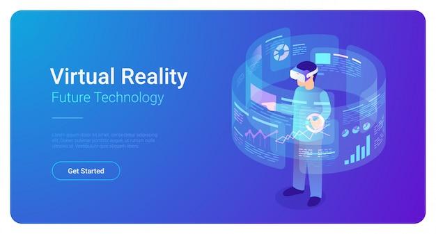 Mann in vr-sturzhelm in der virtuellen realität analysiert daten - isometrische vektorillustration. Premium Vektoren