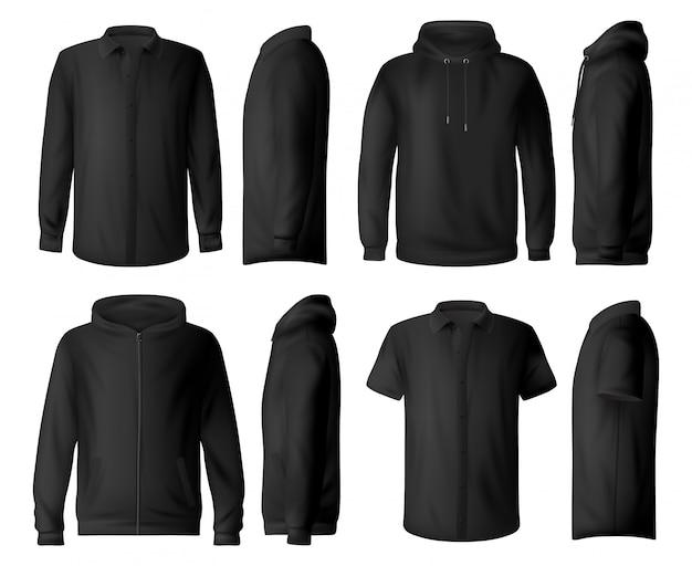 Mann kleidung, hemd und hoodie modelle Premium Vektoren