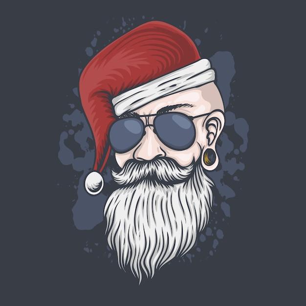 Mann kopf weihnachten illustration Premium Vektoren