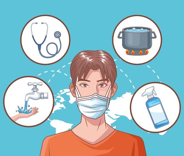 Mann krank in coronavirus-szene Premium Vektoren