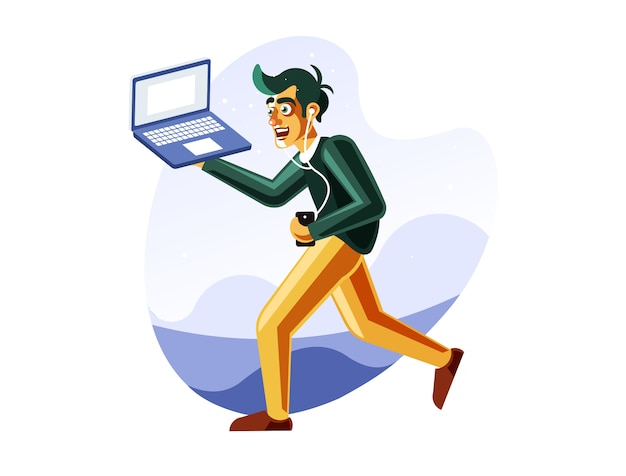 Mann läuft beim tragen des laptops Premium Vektoren
