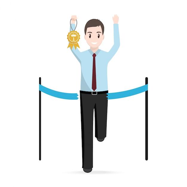 Mann läuft mit gold award Premium Vektoren