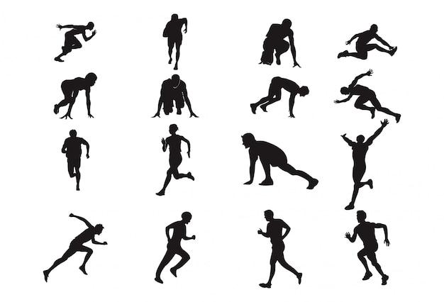 Mann-laufen-schattenbild-gestaltungselement-leichtathletik-sport-haltung Premium Vektoren