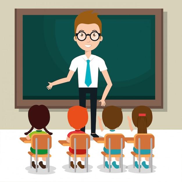 Mann lehrer mit schülern im klassenzimmer Kostenlosen Vektoren