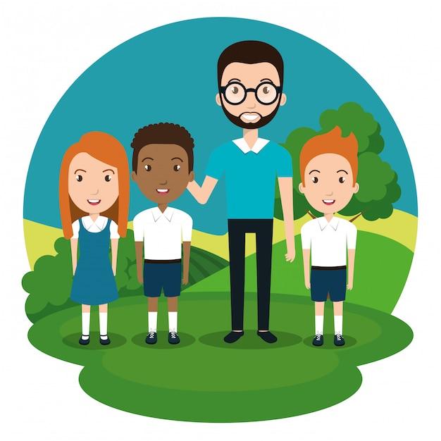 Mann lehrer mit schülern im park Kostenlosen Vektoren
