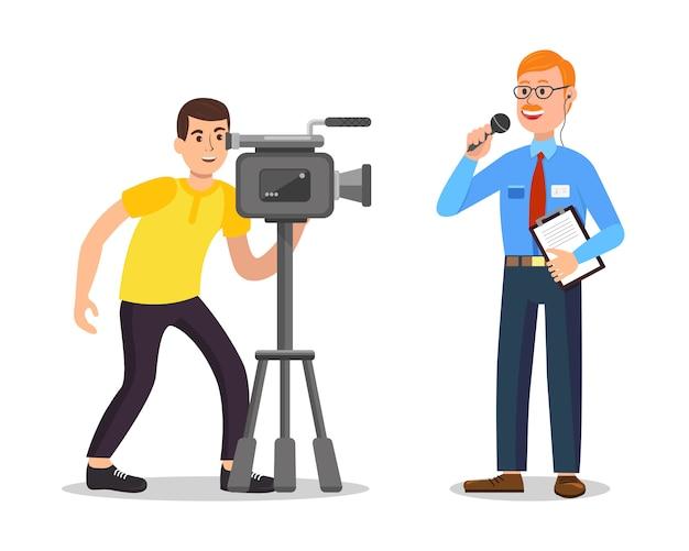 Mann machen video und reporter mit editor. . Premium Vektoren