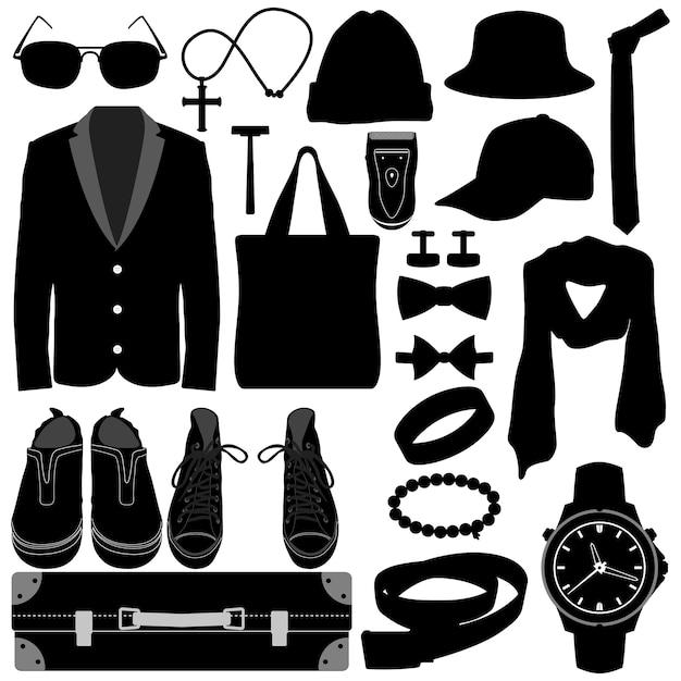 Mann männliche kleidung tragen accessoires modedesign. Premium Vektoren