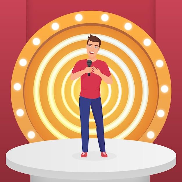 Mann männlicher sänger stern singt popsong mit mikrofon stehend auf kreis moderne bühne mit lampen vektor-illustration Premium Vektoren