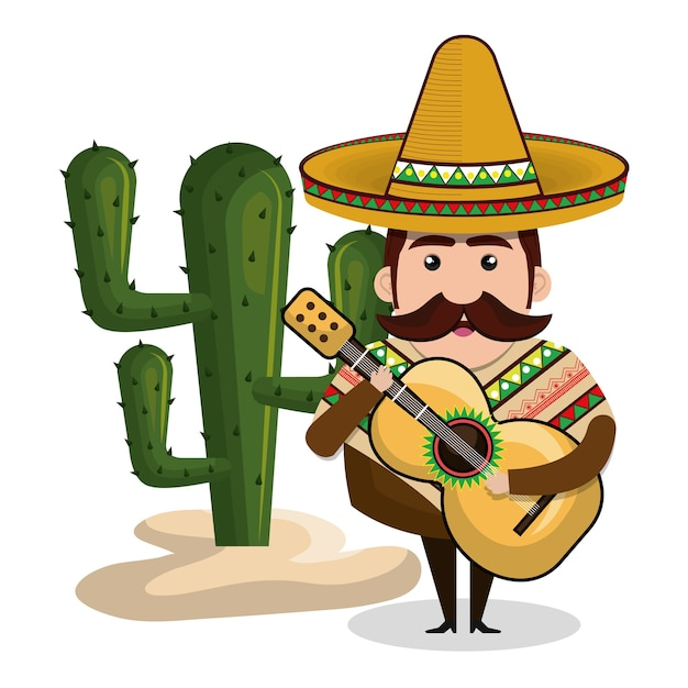 Mann mexikaner mit gitarre und kaktus grafik Premium Vektoren
