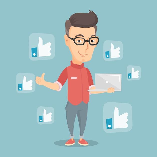 Mann mit ähnlichen knöpfen des sozialen netzes. Premium Vektoren